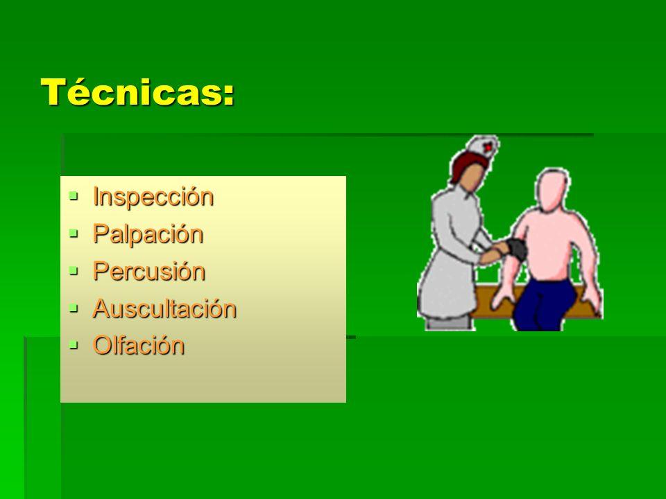 Técnicas: Inspección Palpación Percusión Auscultación Olfación