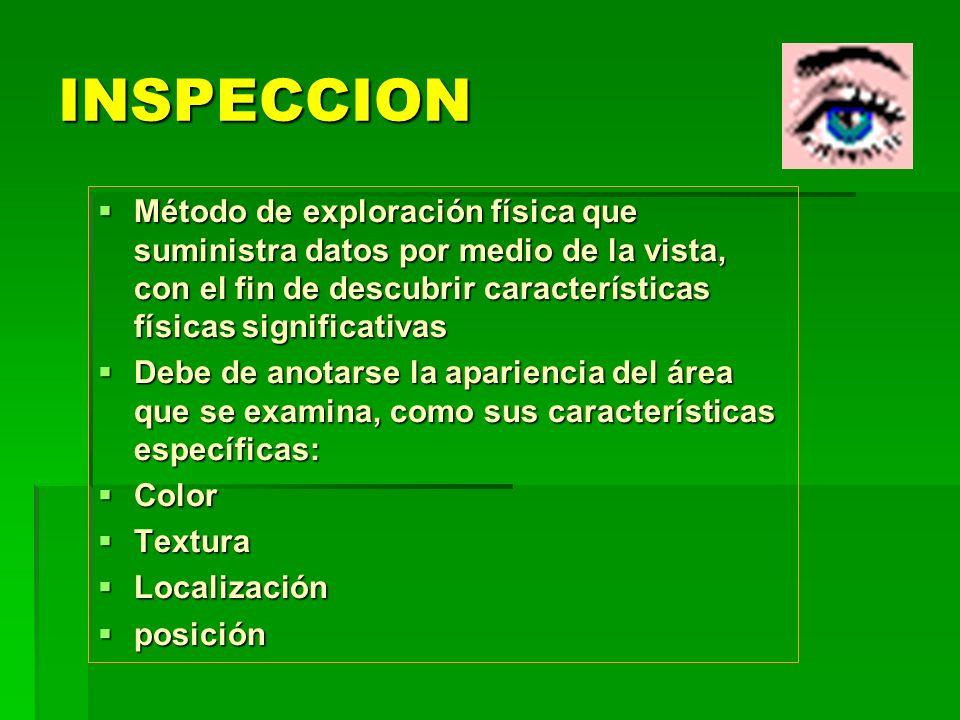 INSPECCION Método de exploración física que suministra datos por medio de la vista, con el fin de descubrir características físicas significativas.