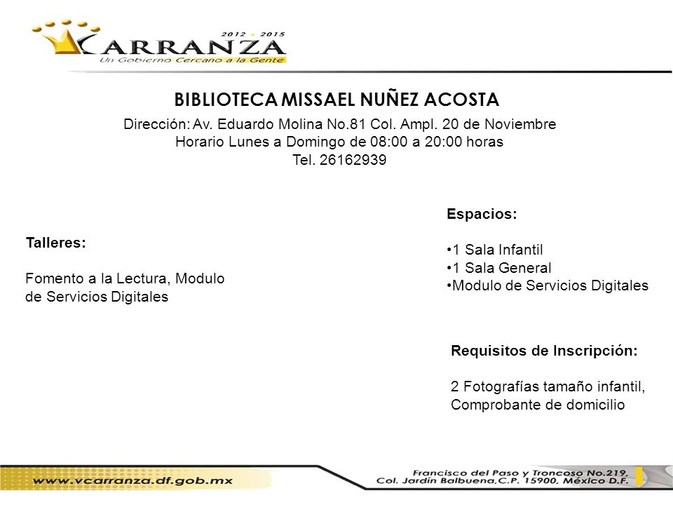 BIBLIOTECA MISSAEL NUÑEZ ACOSTA