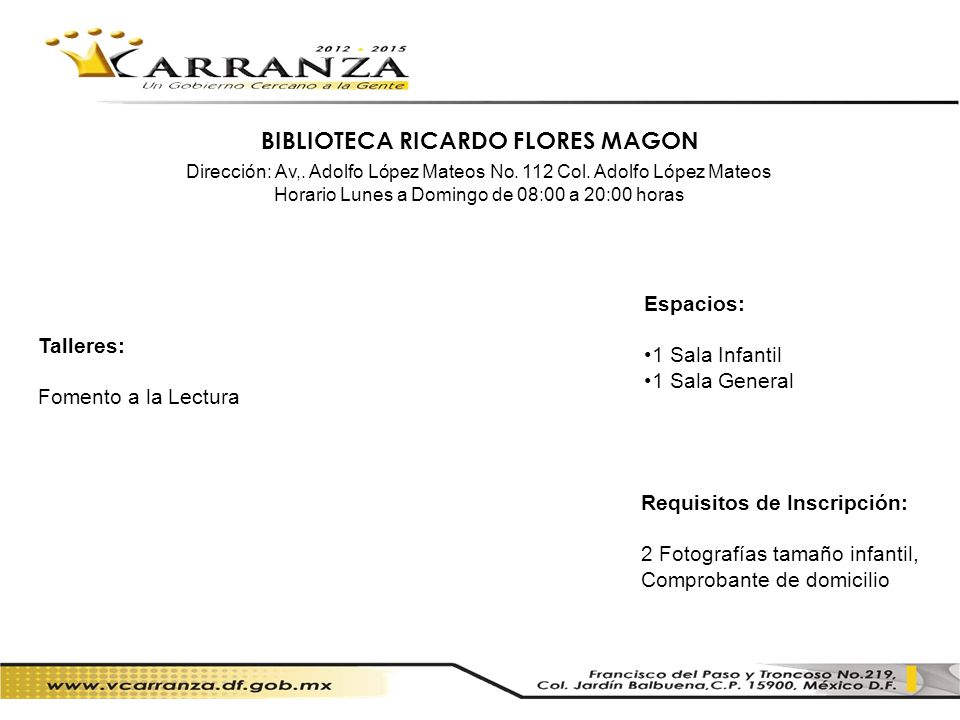 BIBLIOTECA RICARDO FLORES MAGON