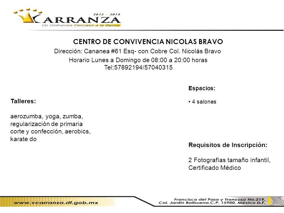 CENTRO DE CONVIVENCIA NICOLAS BRAVO