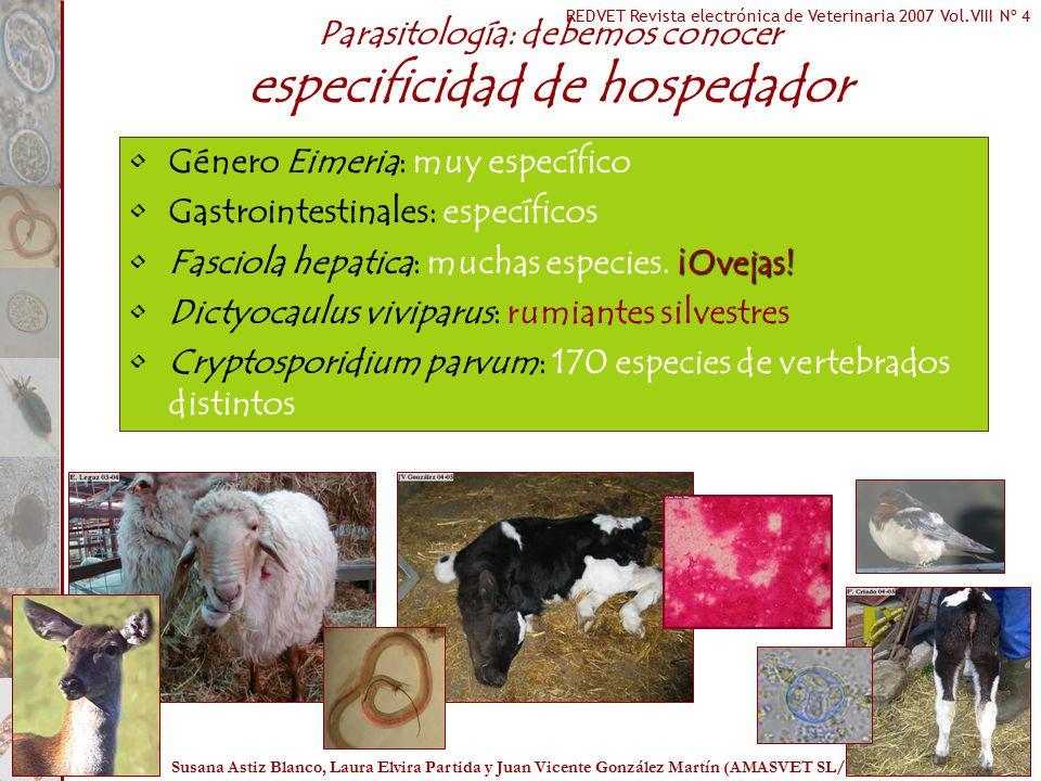 Parasitología: debemos conocer especificidad de hospedador