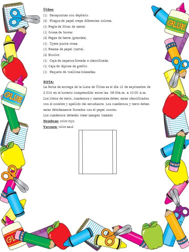 Útiles: Sacapuntas con depósito. Pliegos de papel crepe diferentes colores. (1) Regla de 30cm de metal.