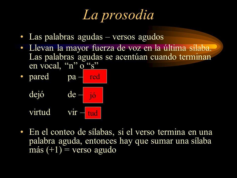 La prosodia Las palabras agudas – versos agudos