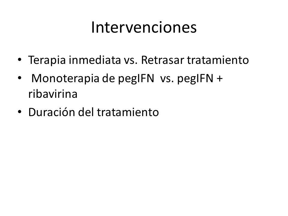 Intervenciones Terapia inmediata vs. Retrasar tratamiento