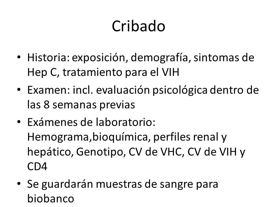 Cribado Historia: exposición, demografía, sintomas de Hep C, tratamiento para el VIH.
