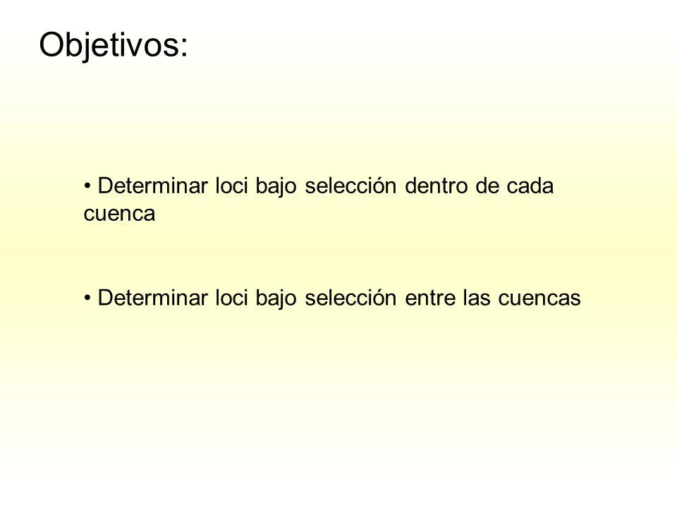 Objetivos: Determinar loci bajo selección dentro de cada cuenca