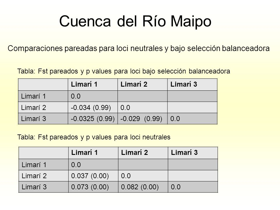 Cuenca del Río Maipo Comparaciones pareadas para loci neutrales y bajo selección balanceadora.