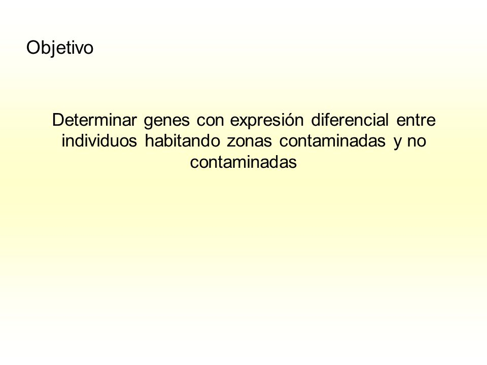 Objetivo Determinar genes con expresión diferencial entre individuos habitando zonas contaminadas y no contaminadas.