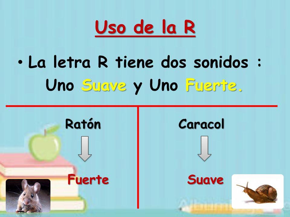 Uso de la R La letra R tiene dos sonidos : Uno Suave y Uno Fuerte.