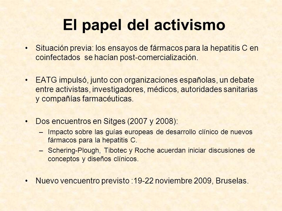 El papel del activismo Situación previa: los ensayos de fármacos para la hepatitis C en coinfectados se hacían post-comercialización.