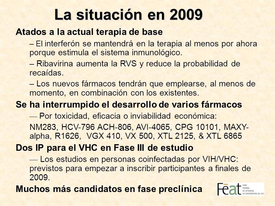 La situación en 2009 Atados a la actual terapia de base