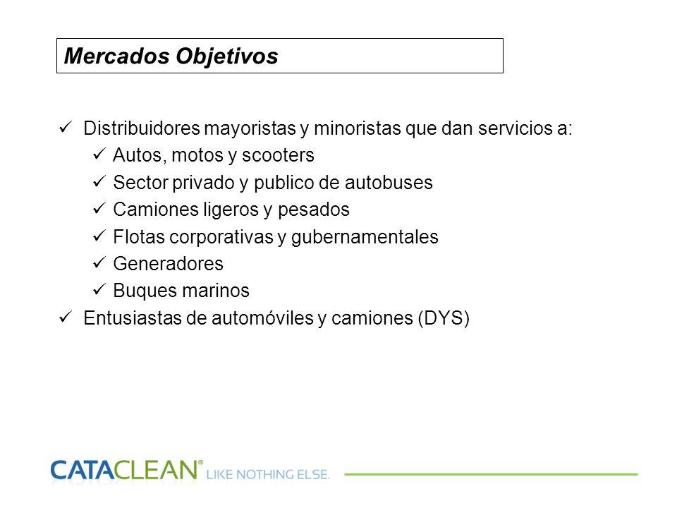 Mercados ObjetivosDistribuidores mayoristas y minoristas que dan servicios a: Autos, motos y scooters.