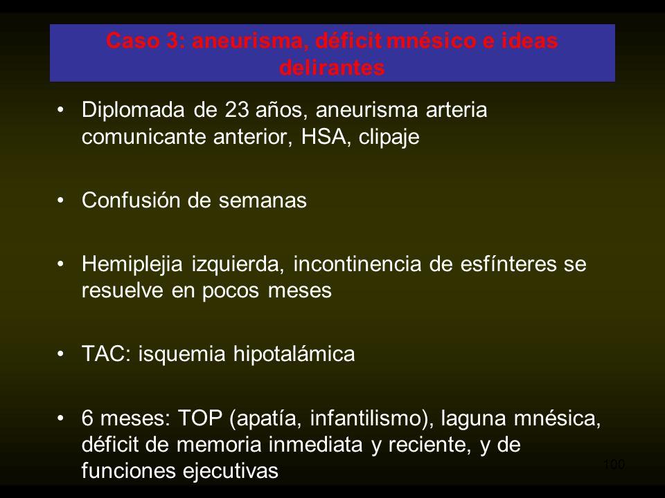 Caso 3: aneurisma, déficit mnésico e ideas delirantes