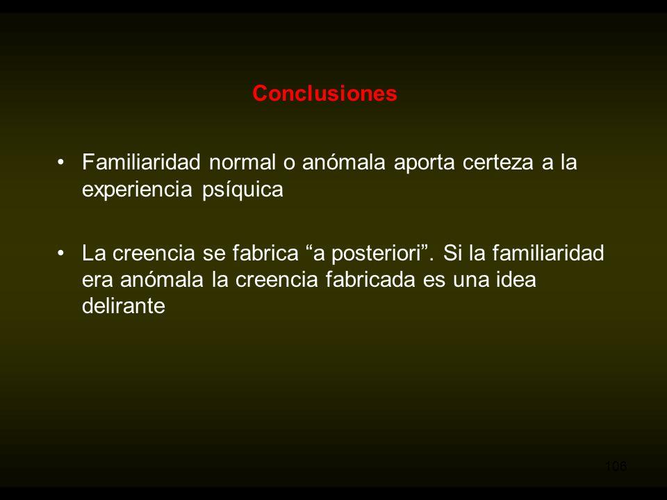 Conclusiones Familiaridad normal o anómala aporta certeza a la experiencia psíquica.