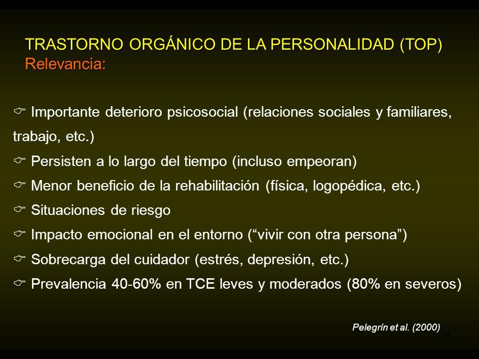 TRASTORNO ORGÁNICO DE LA PERSONALIDAD (TOP) Relevancia: