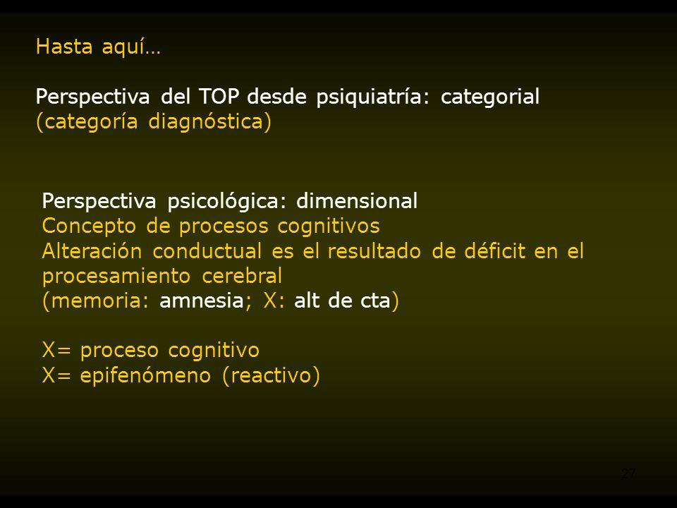 Hasta aquí… Perspectiva del TOP desde psiquiatría: categorial (categoría diagnóstica) Perspectiva psicológica: dimensional.
