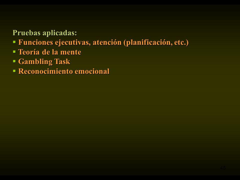 Pruebas aplicadas: Funciones ejecutivas, atención (planificación, etc.) Teoría de la mente. Gambling Task.