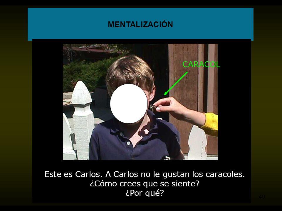 Este es Carlos. A Carlos no le gustan los caracoles.