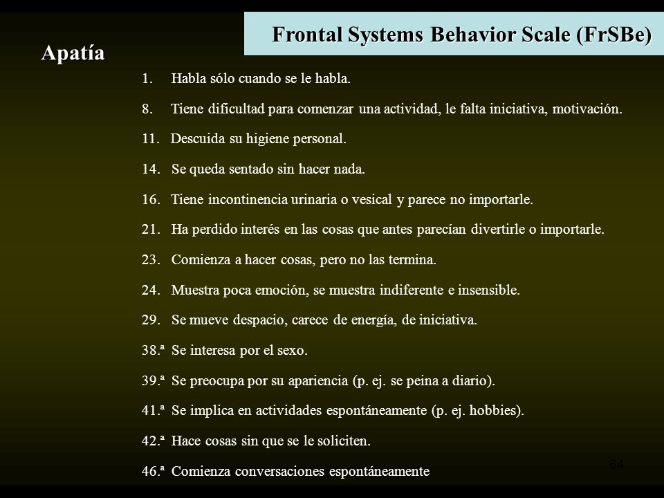 Frontal Systems Behavior Scale (FrSBe)