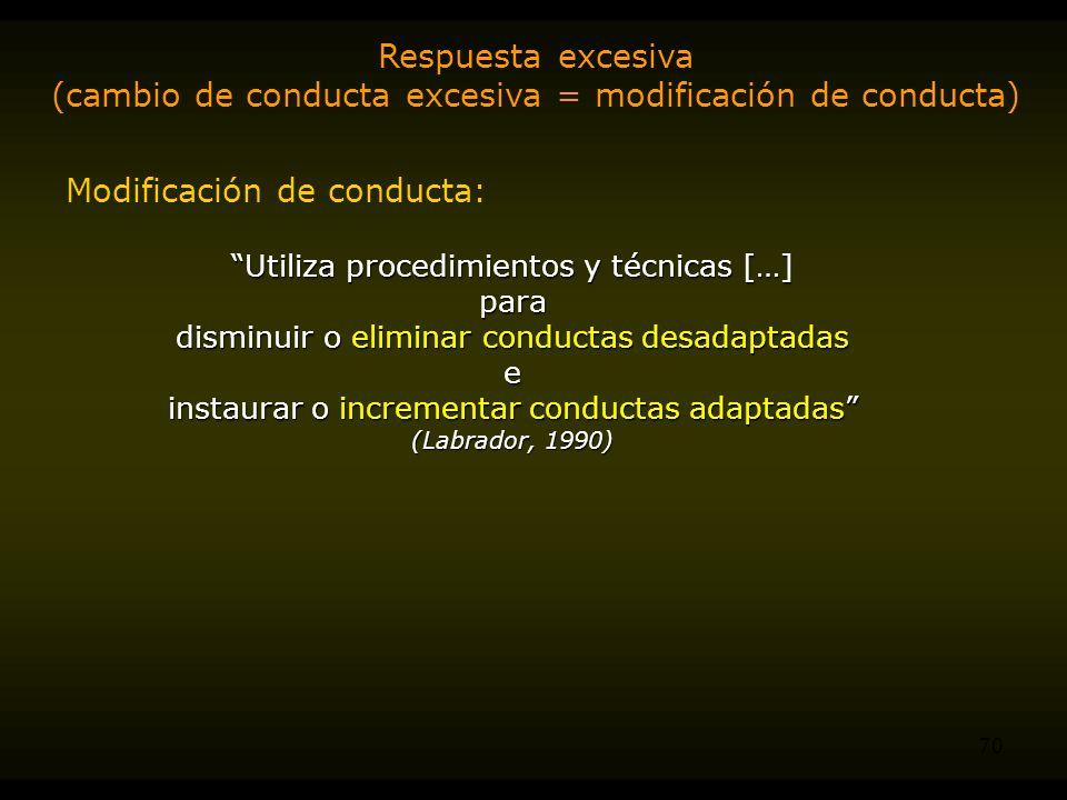(cambio de conducta excesiva = modificación de conducta)