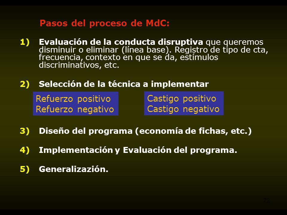 Pasos del proceso de MdC: