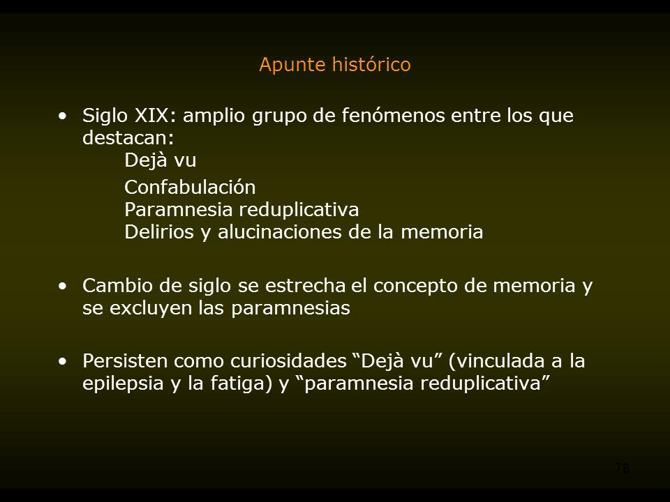 Apunte histórico Siglo XIX: amplio grupo de fenómenos entre los que destacan: Dejà vu.