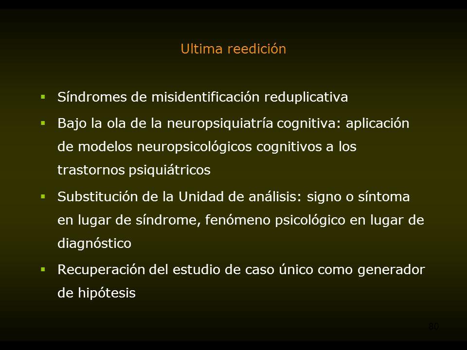 Ultima reedición Síndromes de misidentificación reduplicativa.