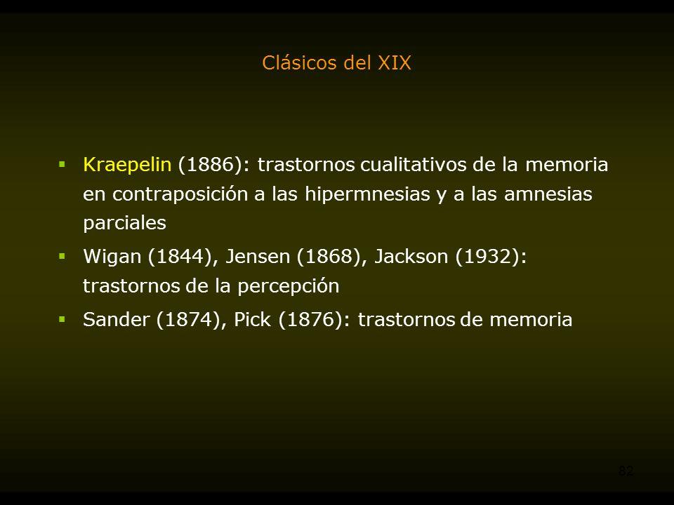Clásicos del XIX Kraepelin (1886): trastornos cualitativos de la memoria en contraposición a las hipermnesias y a las amnesias parciales.