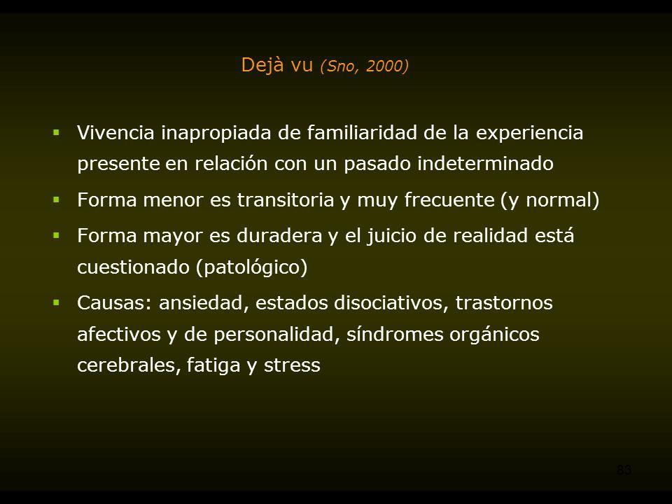 Dejà vu (Sno, 2000) Vivencia inapropiada de familiaridad de la experiencia presente en relación con un pasado indeterminado.