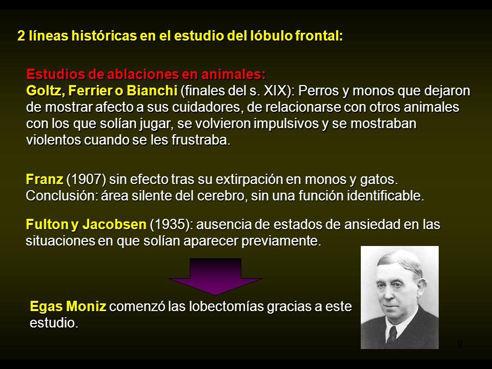 2 líneas históricas en el estudio del lóbulo frontal: