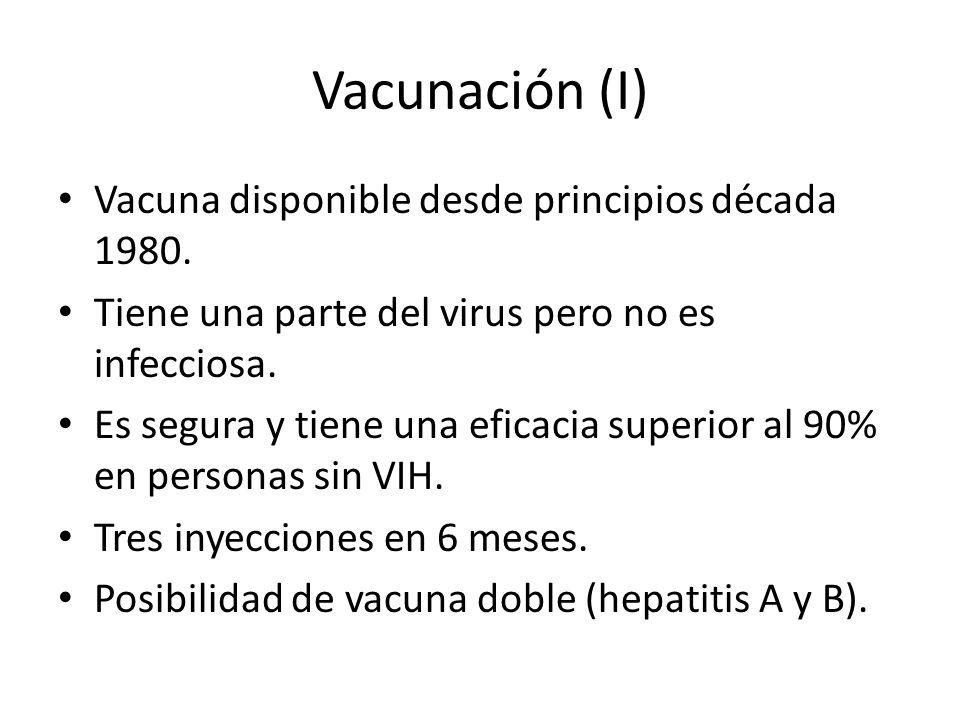 Vacunación (I) Vacuna disponible desde principios década 1980.