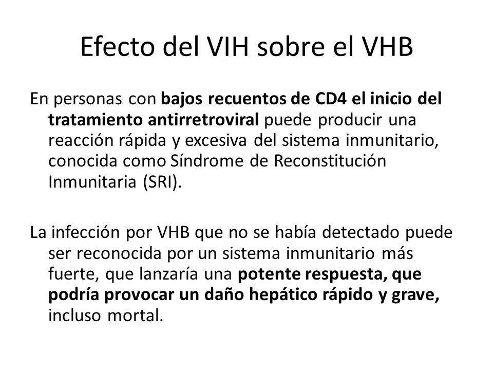 Efecto del VIH sobre el VHB