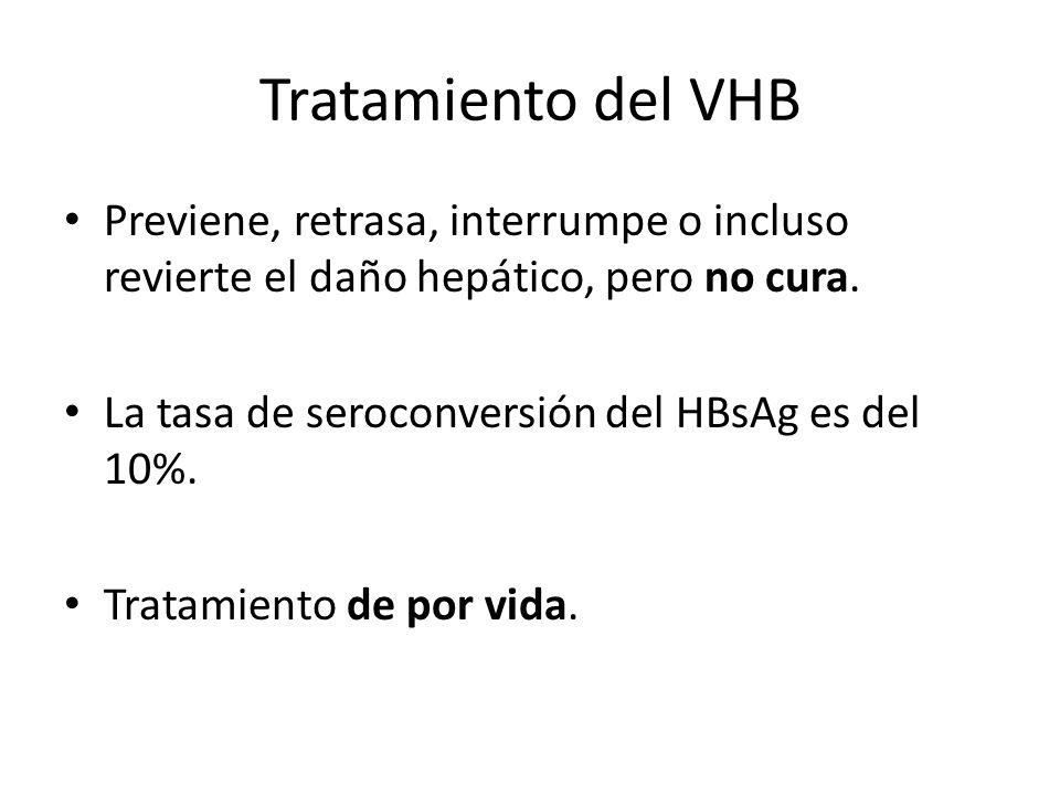Tratamiento del VHBPreviene, retrasa, interrumpe o incluso revierte el daño hepático, pero no cura.