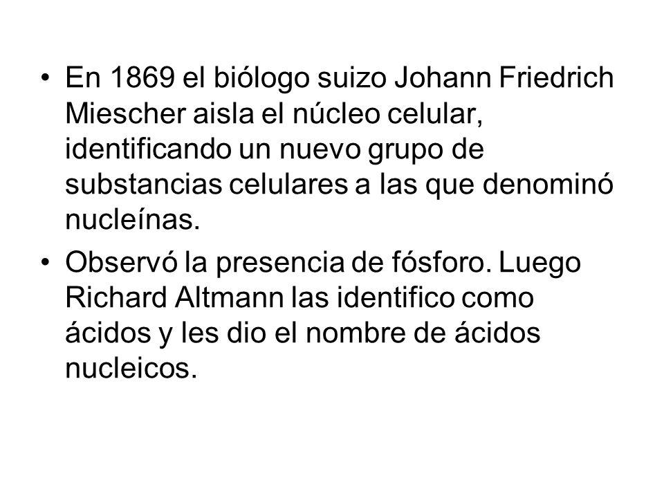 En 1869 el biólogo suizo Johann Friedrich Miescher aisla el núcleo celular, identificando un nuevo grupo de substancias celulares a las que denominó nucleínas.