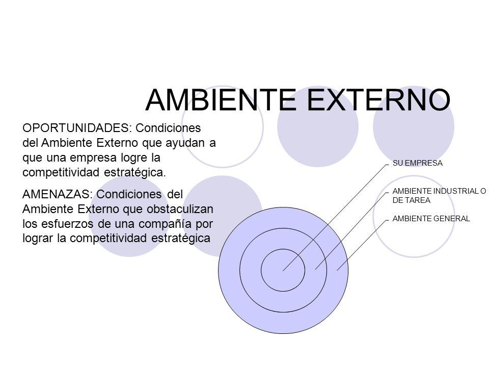 AMBIENTE EXTERNO OPORTUNIDADES: Condiciones del Ambiente Externo que ayudan a que una empresa logre la competitividad estratégica.