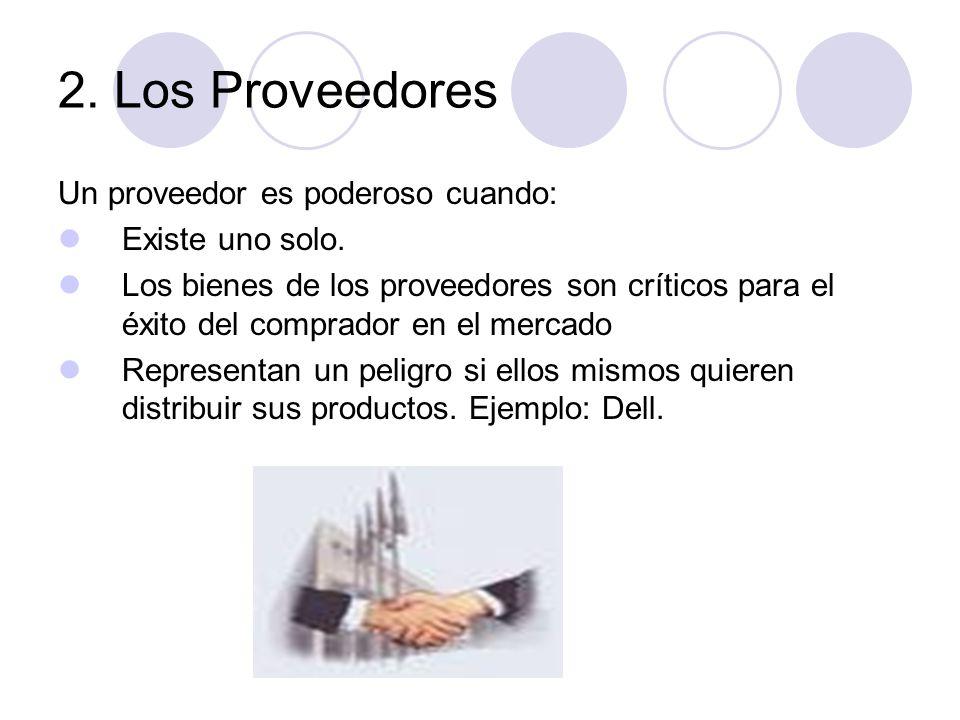 2. Los Proveedores Un proveedor es poderoso cuando: Existe uno solo.