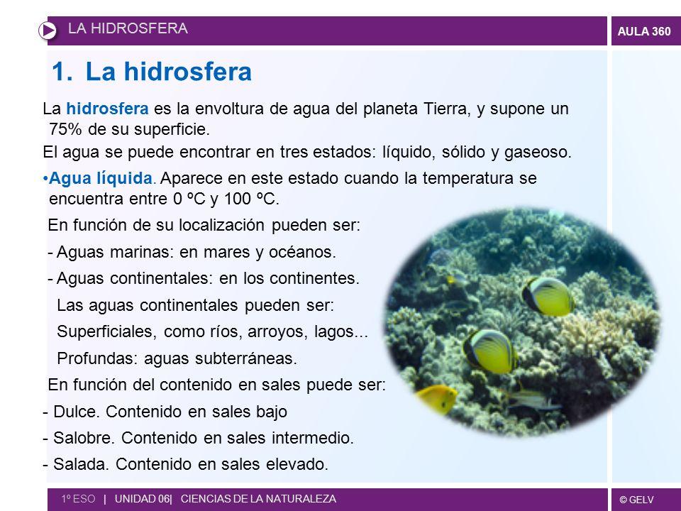 LA HIDROSFERA La hidrosfera. La hidrosfera es la envoltura de agua del planeta Tierra, y supone un 75% de su superficie.