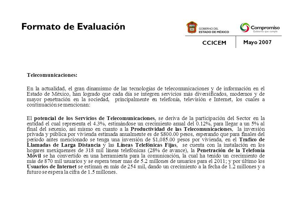 Formato de Evaluación CCICEM Mayo 2007 Telecomunicaciones: