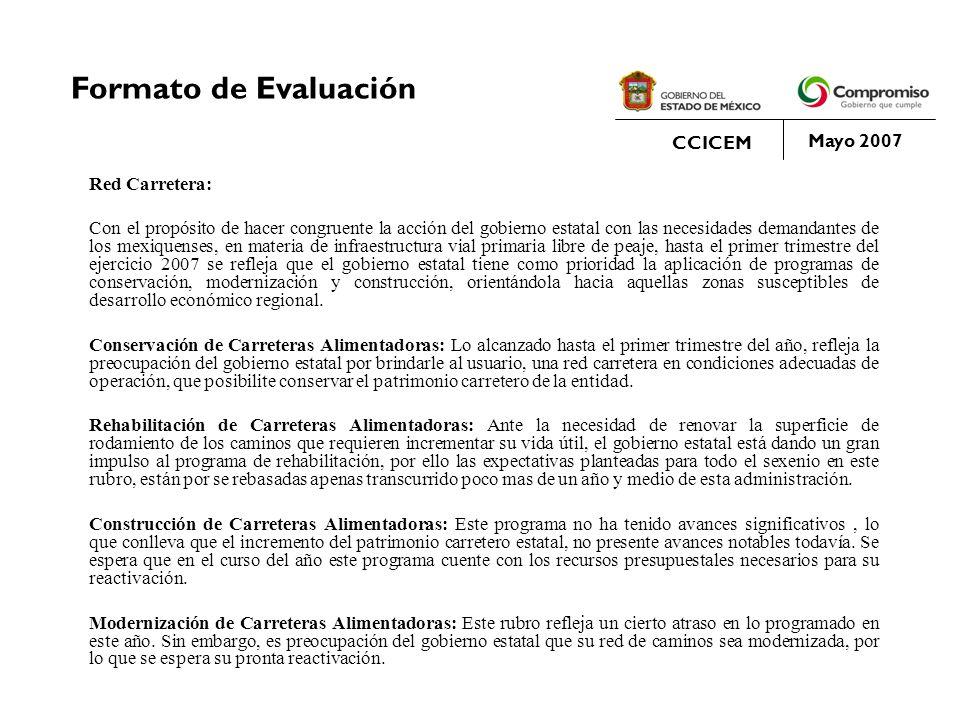 Formato de Evaluación CCICEM Mayo 2007 Red Carretera: