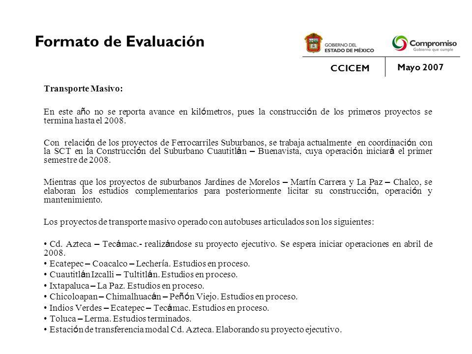 Formato de Evaluación CCICEM Mayo 2007 Transporte Masivo: