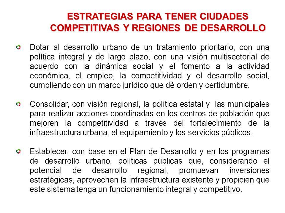 ESTRATEGIAS PARA TENER CIUDADES COMPETITIVAS Y REGIONES DE DESARROLLO