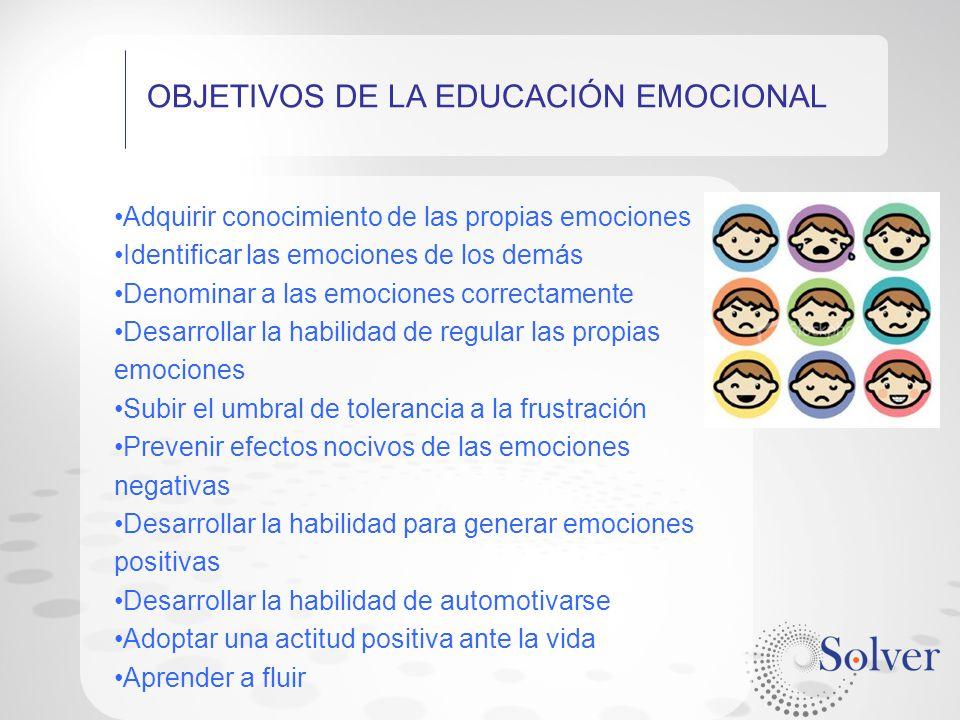 OBJETIVOS DE LA EDUCACIÓN EMOCIONAL