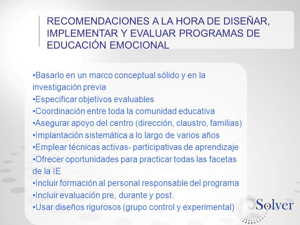 RECOMENDACIONES A LA HORA DE DISEÑAR, IMPLEMENTAR Y EVALUAR PROGRAMAS DE EDUCACIÓN EMOCIONAL