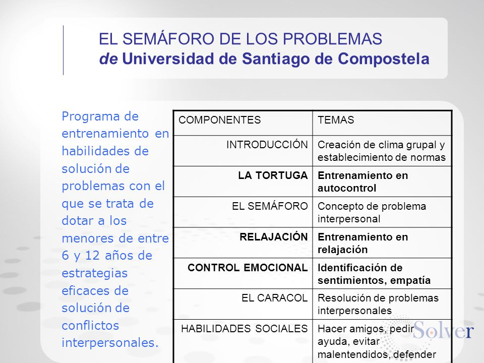 EL SEMÁFORO DE LOS PROBLEMAS de Universidad de Santiago de Compostela