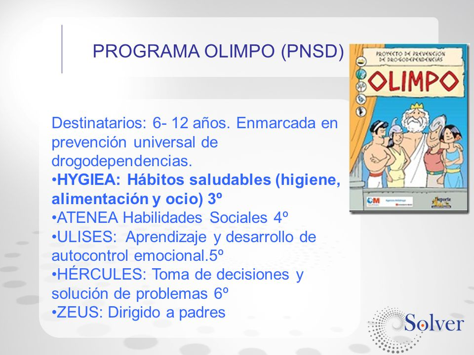 PROGRAMA OLIMPO (PNSD)