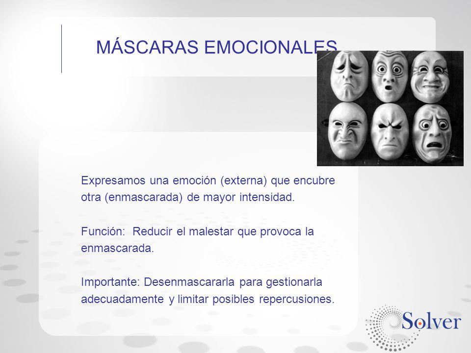 MÁSCARAS EMOCIONALES Expresamos una emoción (externa) que encubre otra (enmascarada) de mayor intensidad.