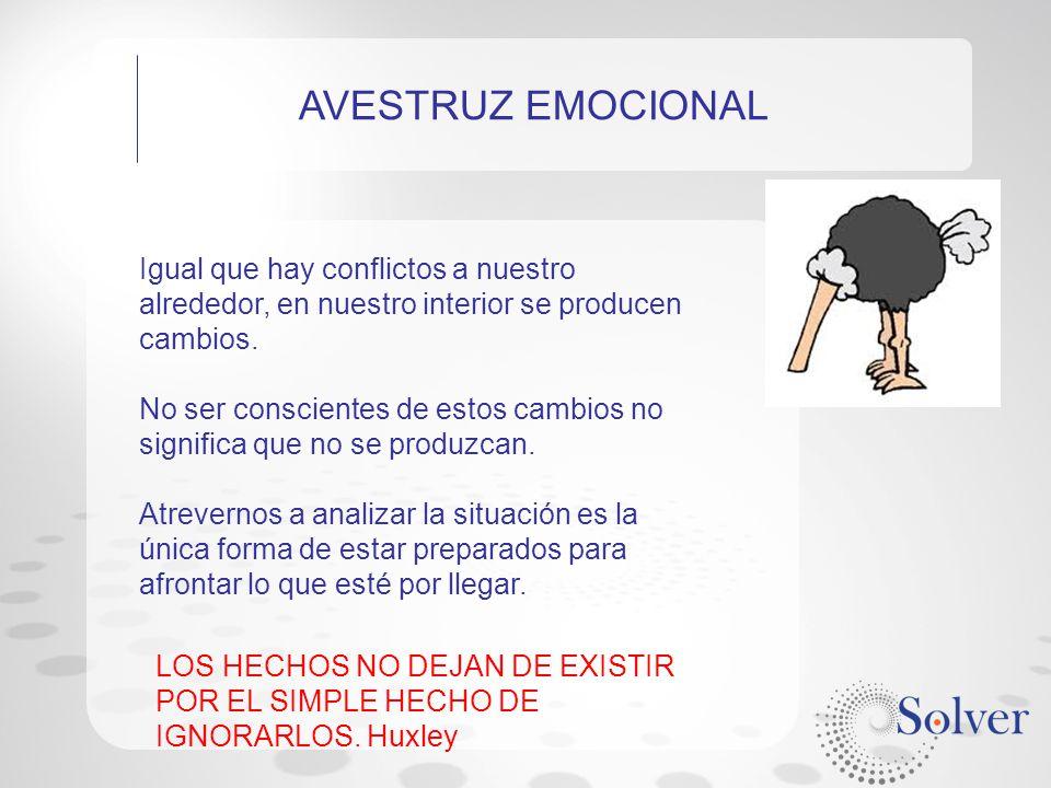 AVESTRUZ EMOCIONAL Igual que hay conflictos a nuestro alrededor, en nuestro interior se producen cambios.