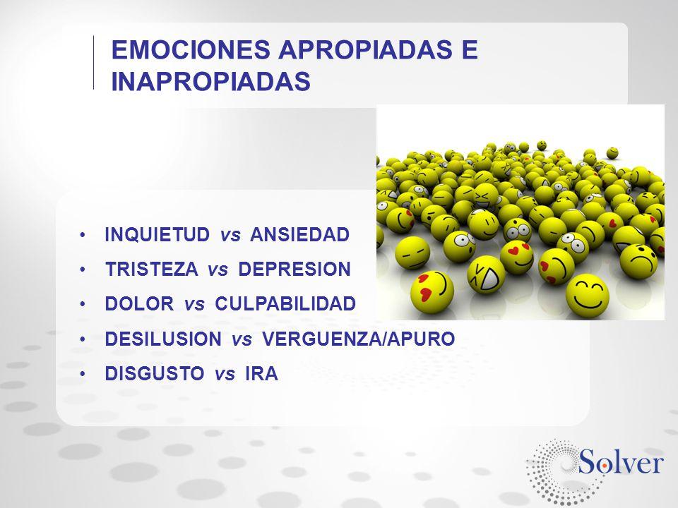 EMOCIONES APROPIADAS E INAPROPIADAS