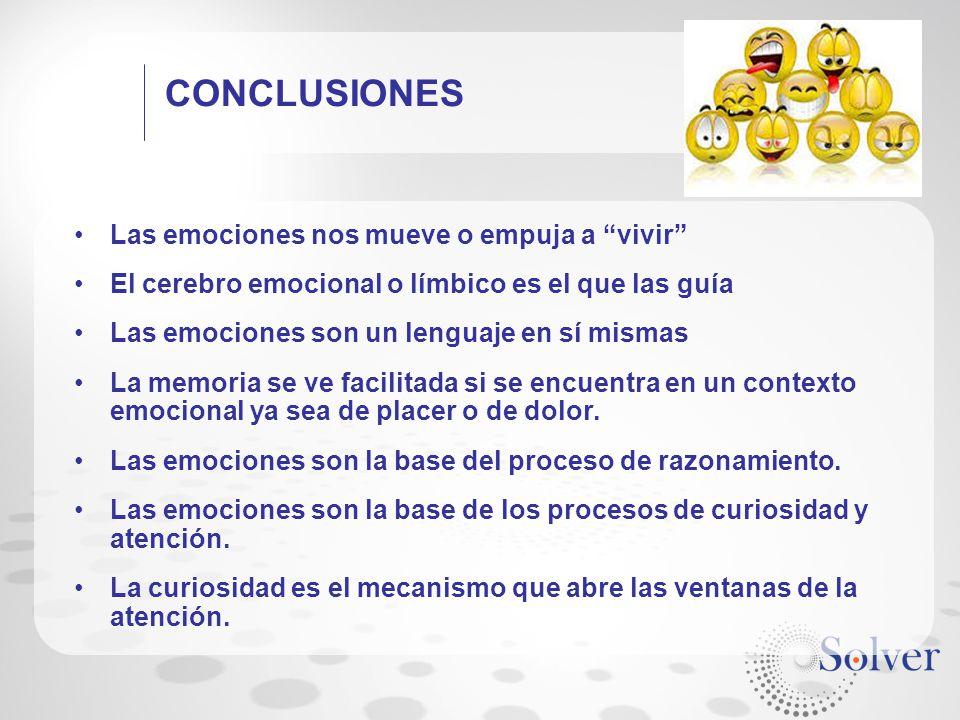 CONCLUSIONES Las emociones nos mueve o empuja a vivir